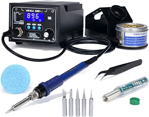 wholesale YIHUA 939D+ I Soldering Station, Upgraded, 75 Watt Equivalent with high quality 3 Memories, °C/°F LCD display, Sleep Function, Automatic Shutdown & online Brushed Aluminum Panel(Iron-burn Resistant) online sale