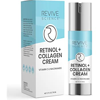 Revive Science Retinol Cream for Face - Retinol Cream & Anti Aging Cream, Retinol Moisturizer for Face, Wrinkle Cream for Face with Collagen, Hyaluronic Acid, Retinol, Vitamin C - Face Cream for Women And Men - NET 1.7 FL OZ