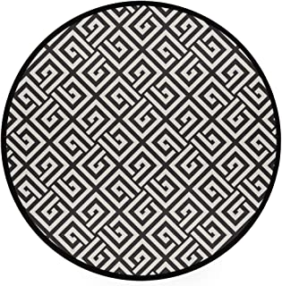 YOLIKA Home Decor Light Round Area Rug, Repeating Labyrinth Stripes Tiling Ornamental Monochrome Pattern ,Super Soft Circle Carpet (4'Diameter)