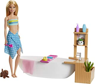 Barbie Fizzy Bath Doll & Playset, Blonde, with Tub, Fizzy Powder, Puppy & More, Gift for Kids 3 to 7 Years Old