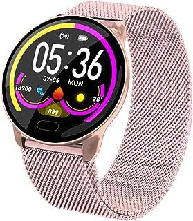 Reloj deportivo inteligente ZNMJW, pantalla táctil circular de 1.22, control de la frecuencia cardíaca de la presión arterial, sueño, oxígeno en la sangre, recordatorio de información de llamada, rosa