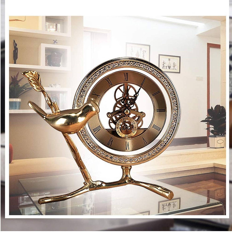 XQY Home Living Room Wall Clock, Bedside ClockFull Copper Desk Clock Creative gold Silent Luxury European Copper Bird with Diamond Mute Table Clock