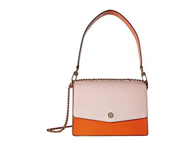 Tory Burch Robinson Color Block Convertible Shoulder Bag (Citrine/Shell Pink) Handbags