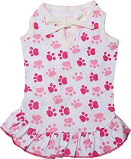 LEDINIU Adorable Paws Pet Dog Dresses Dog Shirts Cotton for Small Cute Dogs