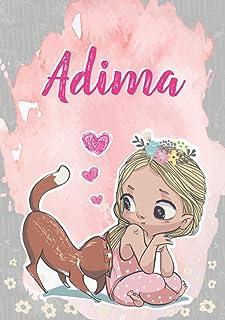 Adima: Taccuino A5 | Nome personalizzato Adima | Regalo di compleanno per moglie, figlia, sorella, mamma | Design: gatto |...