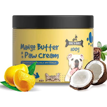 Dogz & Dudez Mango Butter Paw & Nose Cream with Coco, Shea Butter and Coconut Oil | for All Dogs and Puppies, 3.5 oz (100 gm)