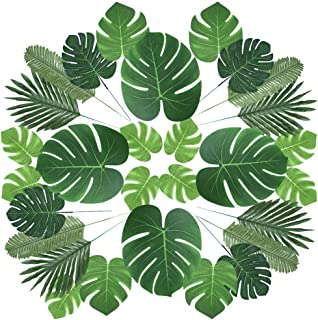 Auihiay 60 Pieces 6 Kinds Artificial Palm Leaves with Faux Monstera Leaves Stems Tropical Plant Simulation Safari Leaves for Hawaiian Luau Party Jungle Beach Theme Party Table Leave Decorations