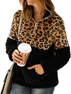 Women's Leopard Print Long Sleeve Pullover Color-Block Lapel Zipper Sherpa Fleece Sweatshirt with Pockets