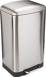 AmazonBasics Poubelle rectangulaire à fermeture douce avec pédale en acier, 40L, nickel