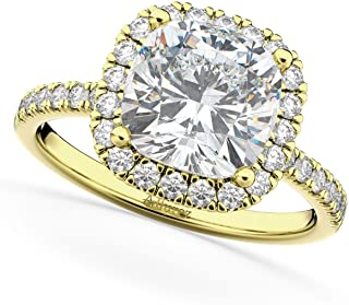 14k Gold (2.55ct) Cushion Cut Halo Moissanite and Diamond Accented Engagement Ring