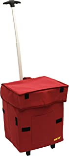 dbest products Smart Cart, RED Collapsible Rolling Utility Cart Basket Grocery Shopping Teacher Hobby Craft Art