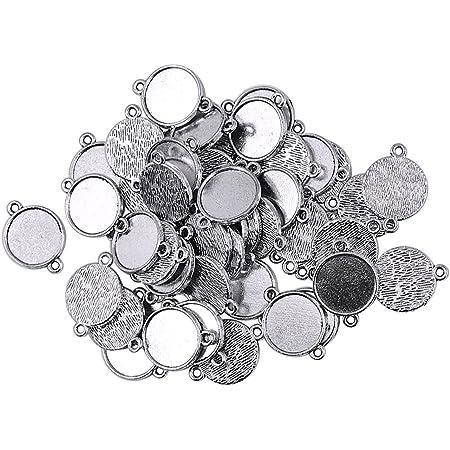 1 Silber 12 St/ück Rund Charms Anh/änger Rohlinge Fassungen f/ür Cabochons Halskette Basteln