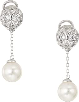 10mm Round Pearls and CZ Long Omega Earrings on Sterling Silver
