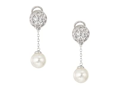 Majorica 10mm Round Pearls and CZ Long Omega Earrings on Sterling Silver (White) Earring