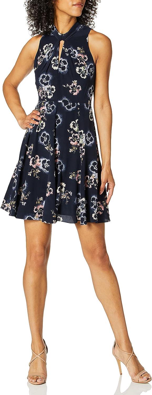 Dress the Population Women's Bianca Sleeveless Cut-Out FIT & Flare MIDI Dress, Electric Blue, L