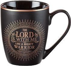 "Christian Encouragement Gifts for Men – Taza de café negro mate con letra metálica, versos de texto ""El Señor es con mí"" J..."