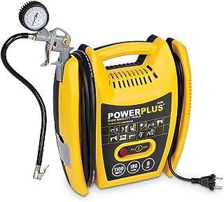 POWERPLUS POWX1705 Compresor de aire a presión portátil (1100 W, máximo 8 bar, incluye accesorios), amarillo