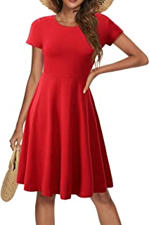 HUHOT Spring/Summer Casual Women Short Sleeve Round Neck A Line Fit and Flare Midi Skater Dress