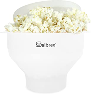 Original Salbree Microwave Popcorn Popper, Silicone Popcorn Maker, Collapsible Bowl - The Most Colors Available (White)