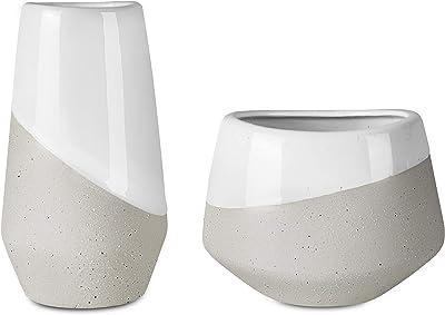 Danxia Ceramic Vase Set, Unique Glazed Design, Home Décor, Set of 2 Vases, Clay and White