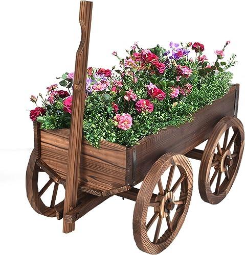popular Giantex Wood online sale Wagon Flower Planter Pot Stand W/Wheels Home Garden Outdoor outlet online sale Decor outlet online sale