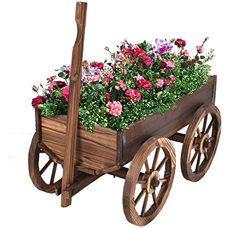 Giantex Wood Wagon Flower Planter Pot Stand W/Wheels Home Garden Outdoor Decor