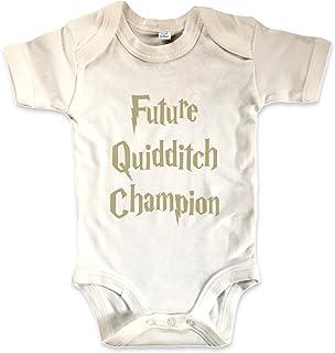 net-shirts Organic Baby Body mit Future Quidditch Champion Aufdruck Spruch lustig Strampler Babybekleidung aus Bio-Baumwolle mit Zertifikat Inspired by Harry Potter