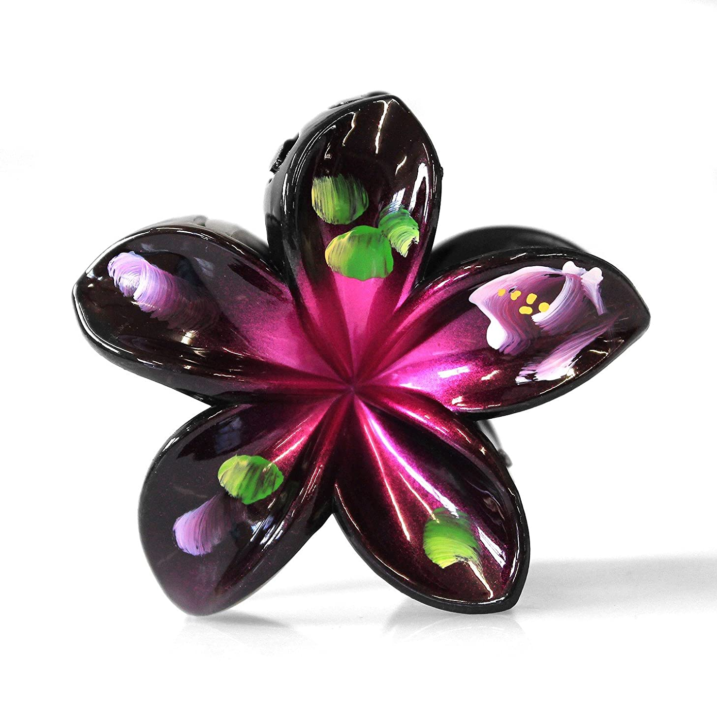 Hawaii Luau Party Dance Performance Plastic Hand Painted Plumeria Flower hair claw clips in Black assorted colors