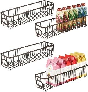 mDesign Zestaw 4 koszyków kuchennych z metalu – elastyczny kosz do przechowywania do kuchni, spiżarni itp. – kompaktowy i ...
