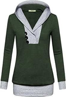 Womens Long Sleeve Color Block Lightweight Pullover Sweatshirt Hoodies