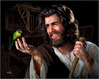 """Deb Minnard an Award Winning Artist, Presents """"Jesus with Bird""""– A Delightful Painting That Will Bring a Smile and a Sense of Joy to Your Family and Friends. This 8x10, Print Will Last a Lifetime"""