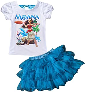 AOVCLKID Moana Little Girls' 2Pcs Suit Cartoon Shirt and Skirt Set