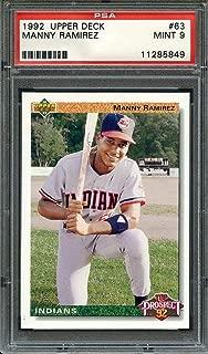 1992 upper deck #63 MANNY RAMIREZ cleveland indians rookie card PSA 9 Graded Card