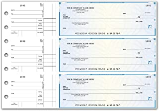 CheckSimple Secure 3-On-A-Page All Purpose Manual Business Checks with Voucher (500 Qty) - Custom