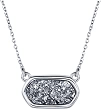 WISHMISS Women Silver Pendant Necklace Bracelet in Natural Drusy