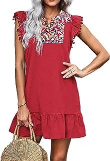 KIRUNDO Women's Summer Mini Dress Casual V Neck Floral Embroidery Ruffle Sleeveless Shift Dress Flowy Boho Dress