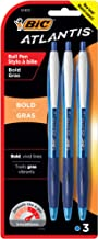 BIC Atlantis Bold Retractable Ball Pen, Bold Point (1.6mm), Blue, 3-Count