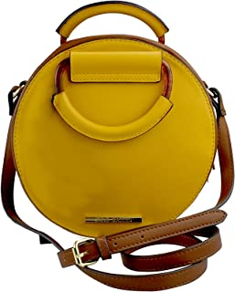 Steve Madden Women's Beautiful Small Rounded Cross-Body Bag, Pebble-Leather - Mustard