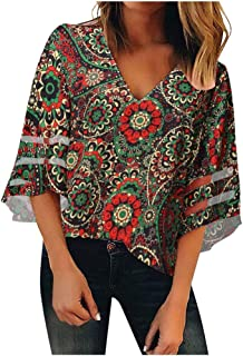 Allywit Women V Neck Mesh Panel Blouse 3/4 Bell Sleeve Casual Loose Top Shirt Tunic Blouse