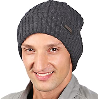 HIG Mens Winter Hat Warm Comfortable Soft Knit Beanie Hats Lined with Fleece
