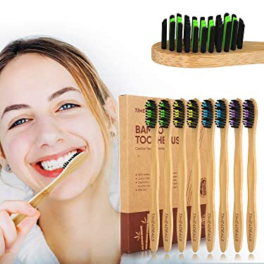 Natural Bamboo Toothbrushes 8 Packs Individual Packing TIME4DEALS Household Travel Biodegradable Deep Cleaning Charcoal Soft Toothbrush with Colorful Soft Bristles for Adult Kids Sensitive Tooth