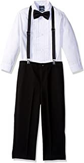 Nautica Boys' 4-Piece Tuxedo Set with Dress Shirt, Bow Tie, Suspenders, and Pants
