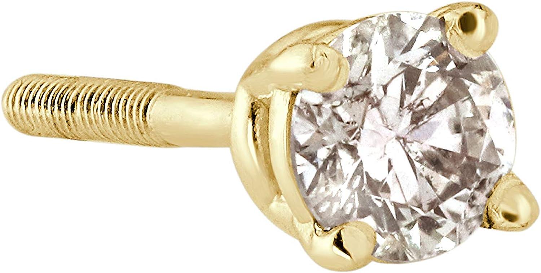 18k Gold Round SINGLE Diamond Stud Earring (0.08ct, Good, I2-I3) 4-Prong Basket set with Screw-back Diamond Wish