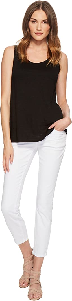 Eileen Fisher Slim Ankle Jeans in White Garment-Dyed Organic Cotton Stretch Denim
