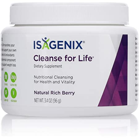 Isagenix Cleanse for Life - Detox Cleanse Drink with Vitamin B12, Niacin and Vitamin B6 for Overall Wellness - 96 Gram Canister (Natural Rich Berry Flavor)
