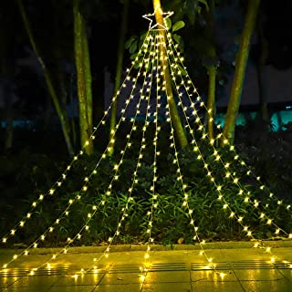 """Best FuNiao Christmas Decorations Star String Lights, 317 LED Waterfall Christmas Tree Lights with 12"""" Topper Star Christmas Lights Indoor Outdoor Decorative for Yard Party Home Holiday Decor (Warm White) Review"""