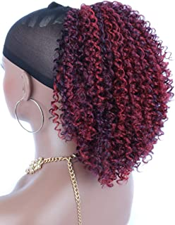 Kalyss Multi Color Red Synthetic Afro Kinky Curly Hair Extensions for Black Women Loose Braids Twist Drawstring Ponytail Hairpiece with Two Clips