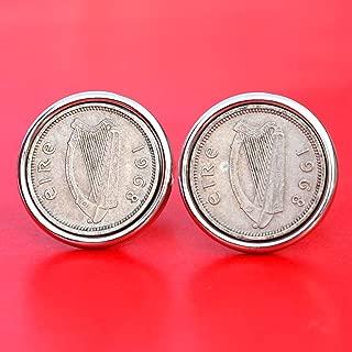 1968 Irish Ireland 3 Pence Harp Coins Silver Plated Cufflinks NEW