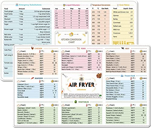 2 Pack Magnetic Cheat Sheets Cookbook Cooker Compatible with Air Fryer Cooking Times Quick Reference Guide Air Fryer Accessories 6''x11'' product image