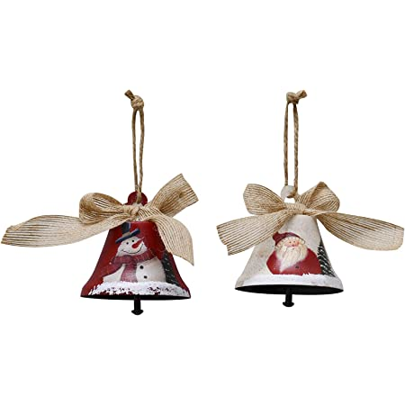 Amazon Com Attraction Design Christmas Jingle Bell Hanging Ornament Set Of 4 3x2 5 Inch Rustic Christmas Tree Snowman Decoration Bell Ornament Wall Door Hanging Decoration Party Decor Xmas Gifts Jingle Bell B Home